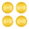 Golden medals four different on white background Royalty Free Stock Images