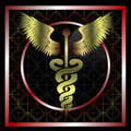 Golden medical caduceus Stock Image