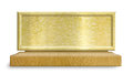 Golden metal frame on wooden stand Royalty Free Stock Photo