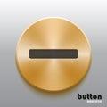 Golden minus button with black symbol