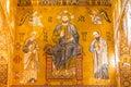 Golden mosaic in La Martorana church, Palermo, Italy Royalty Free Stock Photo
