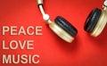 Golden Music headphone Text Peace love Music
