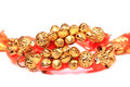 Golden musical anklets Royalty Free Stock Photo