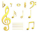 Golden musical notes Stock Images