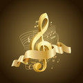 Golden musical treble clef with abstract lines and notes, ribbon Royalty Free Stock Photo