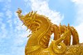 The golden naga sculpture temple in northern thailand Stock Photo