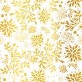 Golden nautical seaweed pattern. Royalty Free Stock Photo