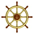 Golden nautical wheel isolated Stock Photo