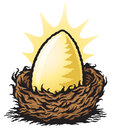 Golden nest egg graphic illustration of a large sitting in a Stock Photos