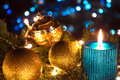 Golden new year beautiful ornaments and candles as a decoration photography Stock Photography