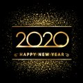 Golden new year 2020 on gold dust - vector