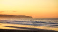 Golden north beach sunset on whitby s Royalty Free Stock Photography
