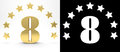 Golden number eight on white background with drop shadow and alpha channel , decorated with a circle of stars. 3D illustration