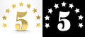 Golden number five on white background with drop shadow and alpha channel , decorated with a circle of stars. 3D illustration