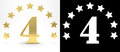 Golden number four on white background with drop shadow and alpha channel , decorated with a circle of stars. 3D illustration