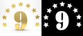 Golden number nine on white background with drop shadow and alpha channel , decorated with a circle of stars. 3D illustration