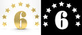 Golden number six on white background with drop shadow and alpha channel , decorated with a circle of stars. 3D illustration