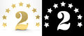 Golden number two on white background with drop shadow and alpha channel , decorated with a circle of stars. 3D illustration