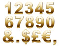 Golden numbers and currency set of denomination signs isolated on white background Stock Photos