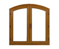 Golden oak laminated arched pvc window Royalty Free Stock Photo