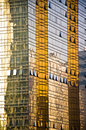Golden Office building glass wall. Royalty Free Stock Photo