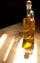 Golden olive oil in sun light bright Stock Photography