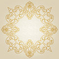 Golden ornament frame in victorian style on light seamless background element for design it can be used for decorating of wedding Stock Photography