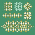Golden ornament set elements on green background Royalty Free Stock Image