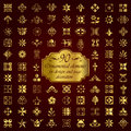 Golden ornamental elements for design and page decoration