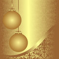 Golden ornamental xmas background with balls is presented Royalty Free Stock Photos