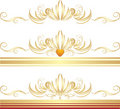 Golden ornaments for three decorative frames Stock Photography