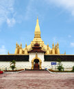 Golden pagada in Pha-That Luang temple, Lao Royalty Free Stock Photos