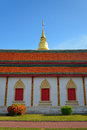 Golden pagoda architecture of northern thailand in temple buddhism at wat phra that hariphunchai lamphun Stock Image