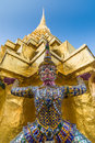 Golden pagoda in the grand palace area in bangkok thailand wat phra kaew is temple of emerald buddha Royalty Free Stock Photography