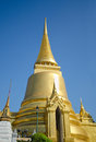 Golden pagoda grand palace wat phra kaew area bangkok thailand a gilded in gold at Royalty Free Stock Photography