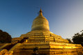 Golden pagoda on irrawaddy river bagan myanmar the in burma Royalty Free Stock Image