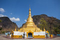 Golden pagoda on the mountain at myanmar Royalty Free Stock Image
