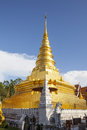 Golden pagoda nan province thailand of wat pratat chair hang temple Stock Image
