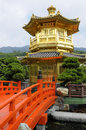 Golden Pagoda, red bridge, Chinese garden, Hong Kong Royalty Free Stock Photo