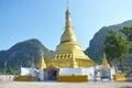 Golden pagoda at tai ta ya monastery or sao roi ton temple of payathonsu in the south of kayin state myanmar Stock Photography