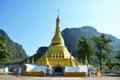 Golden pagoda at tai ta ya monastery or sao roi ton temple of payathonsu in the south of kayin state myanmar Royalty Free Stock Images