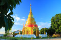 Golden pagoda at temple thailand in Royalty Free Stock Photos