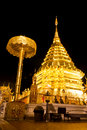 Golden pagoda of Wat Doi Suthep in night Stock Image