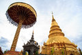 Golden pagoda of wat phra that lamphun thailand Stock Photography
