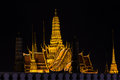 Golden palace night shot of bangkok s illuminated grand from the street outside Royalty Free Stock Image