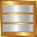 Golden panel with three silver banners Stock Photography