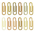 Golden paperclip collection Royalty Free Stock Images