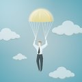 Golden parachute of chief executive officer vector illustration Royalty Free Stock Images