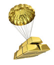 Golden parachute isolated on white background Royalty Free Stock Image