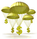 Golden parachutes for the design of information related to business and economy Royalty Free Stock Image